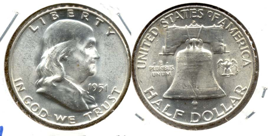 1951-D Franklin Half Dollar MS-60 a