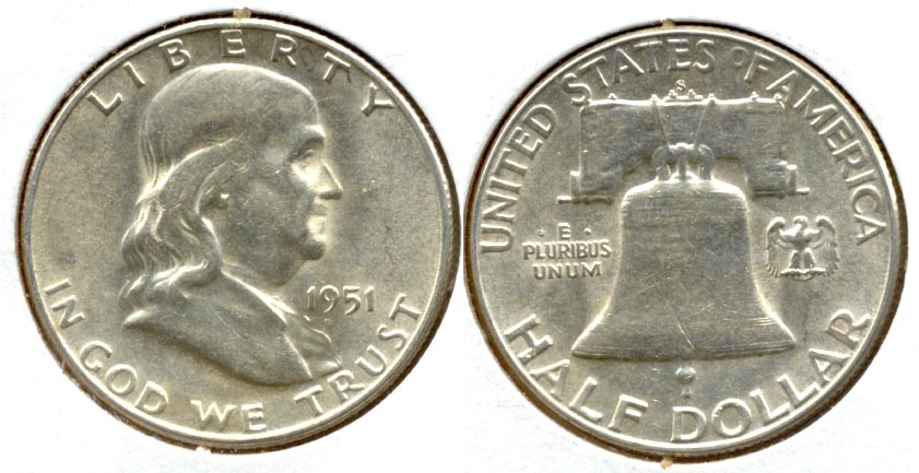 1951-S Franklin Half Dollar AU-50