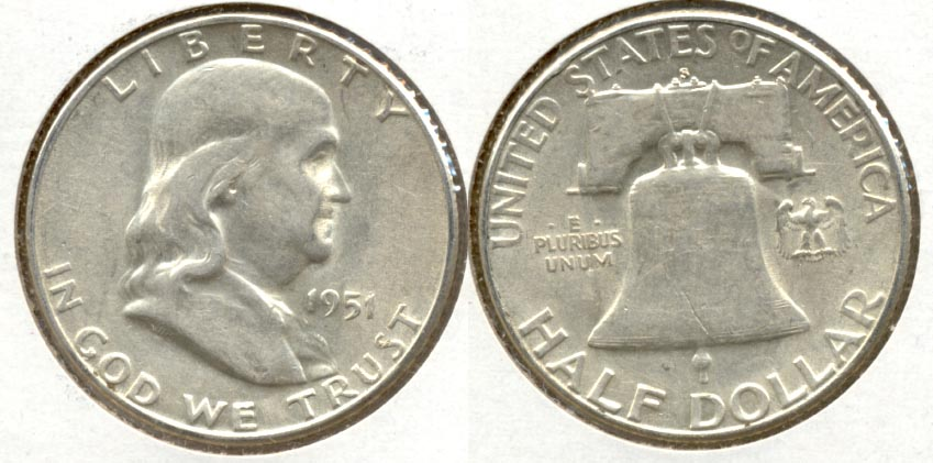 1951-S Franklin Half Dollar AU-50 at