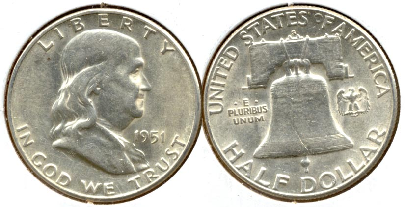 1951-S Franklin Half Dollar AU-50 i