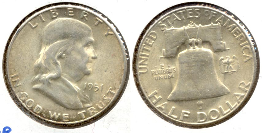 1951-S Franklin Half Dollar AU-50 l