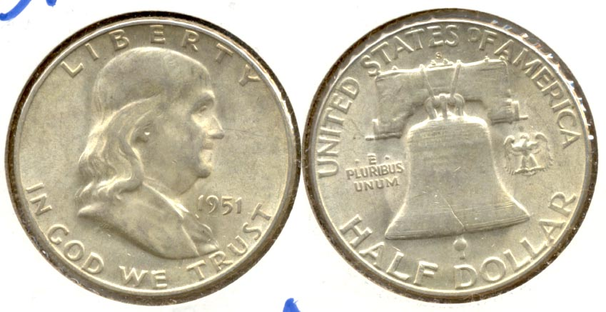1951-S Franklin Half Dollar AU-50 u