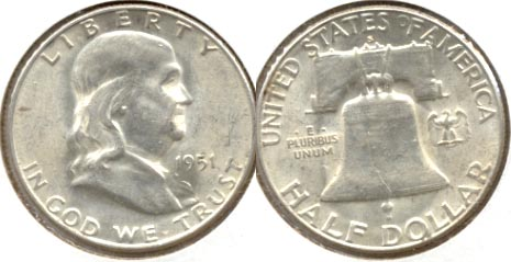 1951-S Franklin Half Dollar AU-55 a