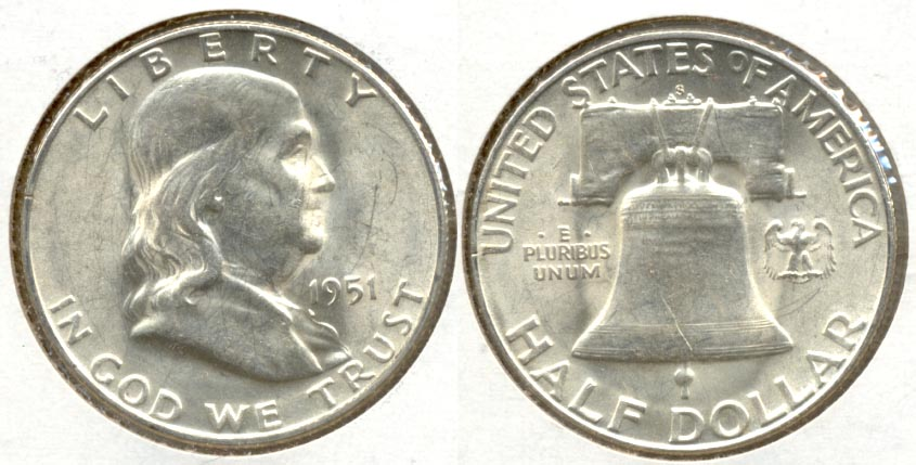 1951-S Franklin Half Dollar AU-55 h