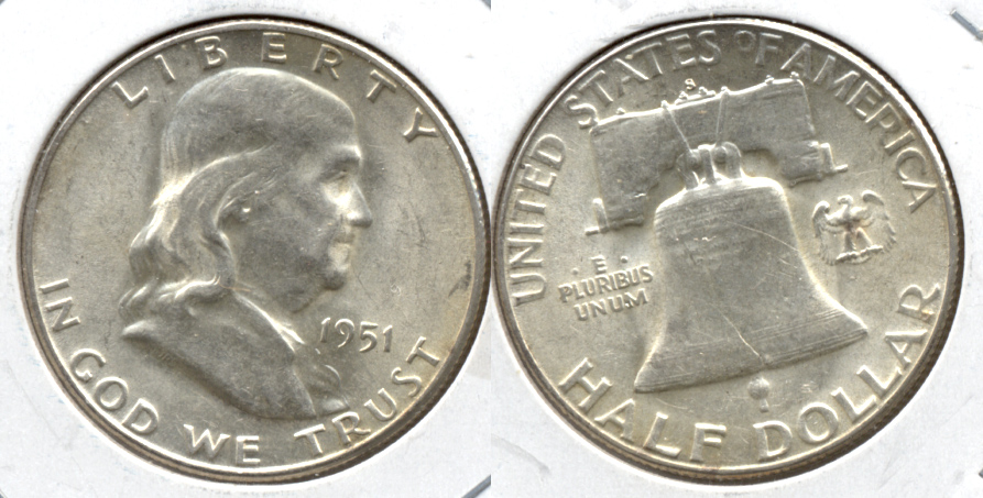 1951-S Franklin Half Dollar AU-55 m