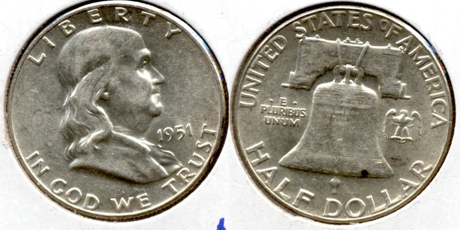 1951 Franklin Half Dollar AU-50 f