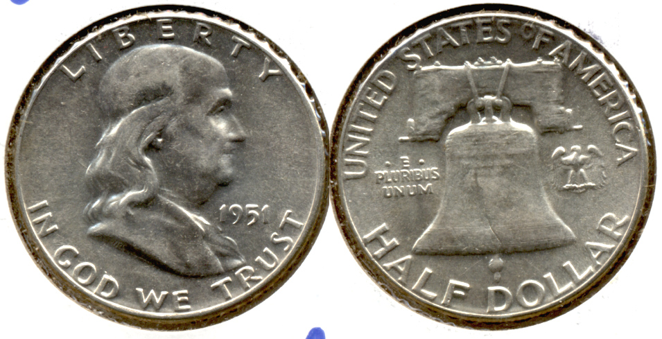 1951 Franklin Half Dollar AU-50 j