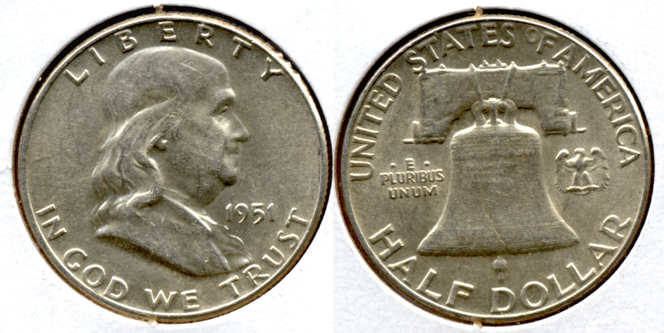 1951 Franklin Half Dollar AU-50 q