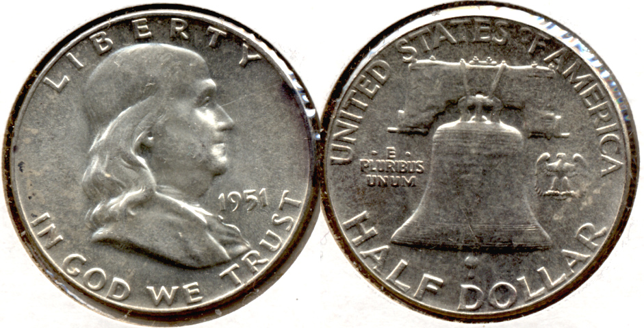 1951 Franklin Half Dollar AU-50 v