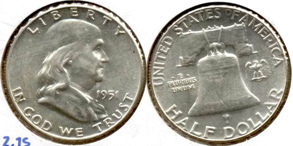 1951 Franklin Half Dollar AU-55 e