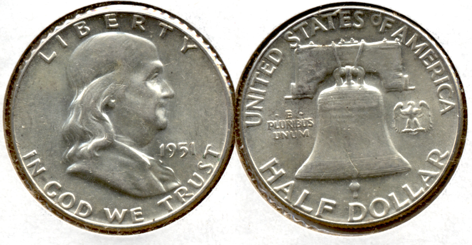 1951 Franklin Half Dollar AU-55 n