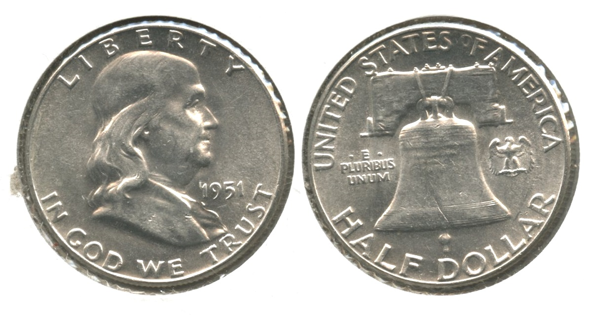 1951 Franklin Half Dollar AU-55 #q