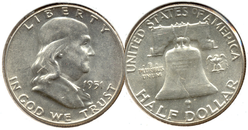 1951 Franklin Half Dollar MS-60 e