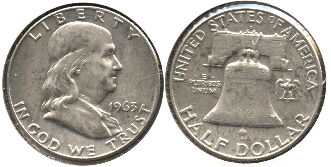 1963-D Franklin Half Dollar EF-40 a Cleaned