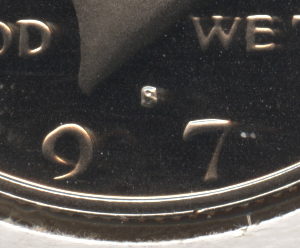 1979-S Type 1 Filled S Kennedy Half Dollar Proof Close Up