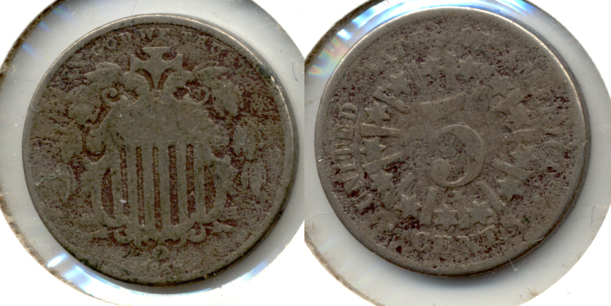 1866 Shield Nickel Good-4 f Rough Surfaces
