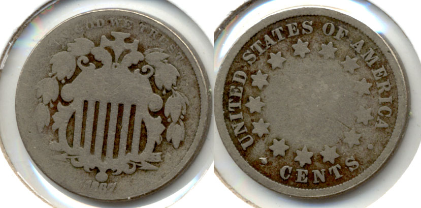 1867 No Rays Shield Nickel AG-3 g