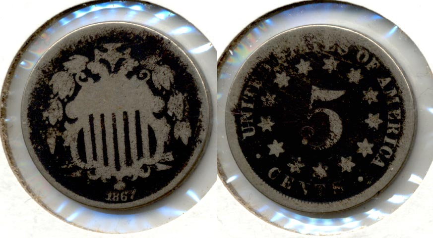 1867 No Rays Shield Nickel AG-3 m Dark Fields