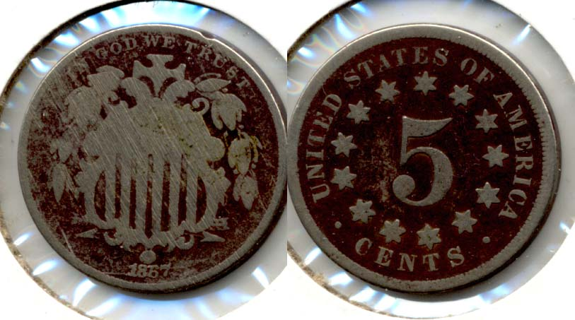 1867 No Rays Shield Nickel Good-4 l Obverse Scratches