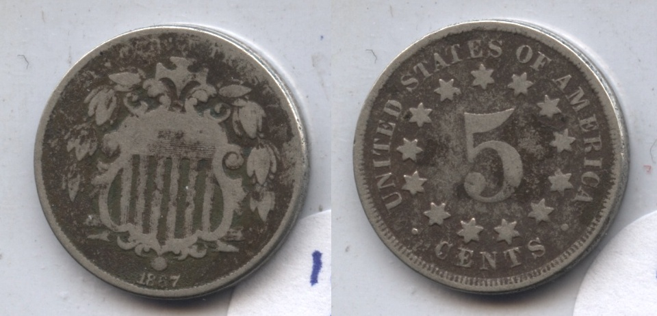 1867 No Rays Shield Nickel Good-4 #w Dark Fields