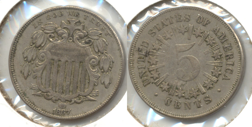 1867 With Rays Shield Nickel EF-40