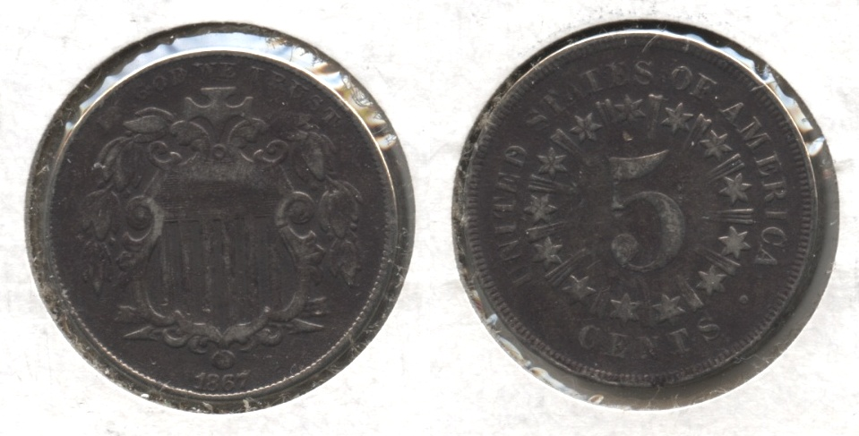 1867 With Rays Shield Nickel Fine-12 Bit Dark