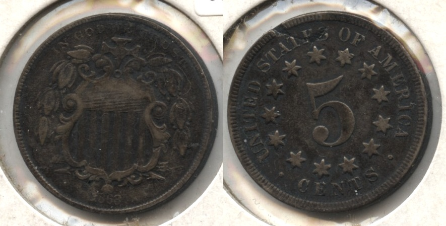 1868 Shield Nickel Fine-12 #c Bit Dark