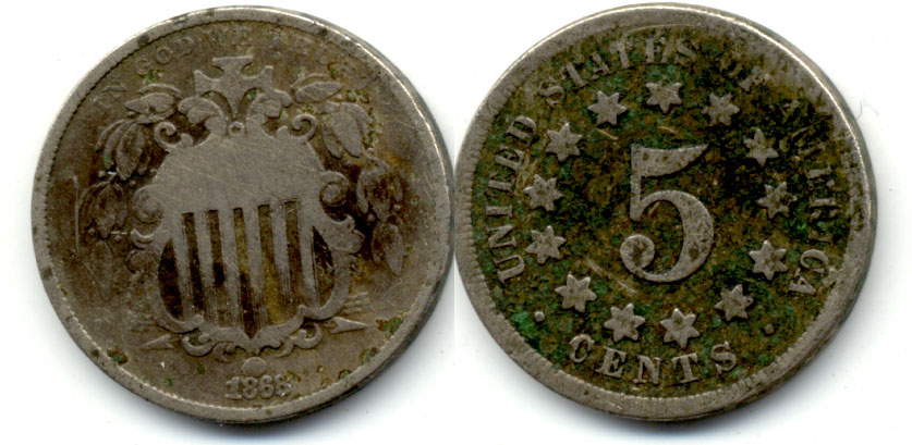 1868 Shield Nickel Good-4 f Dark Reverse