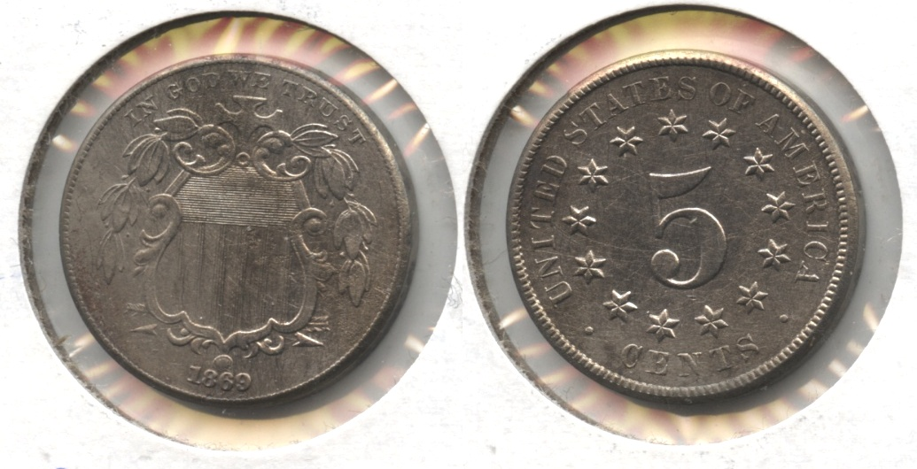 1869 Shield Nickel AU-50 Harshly Cleaned