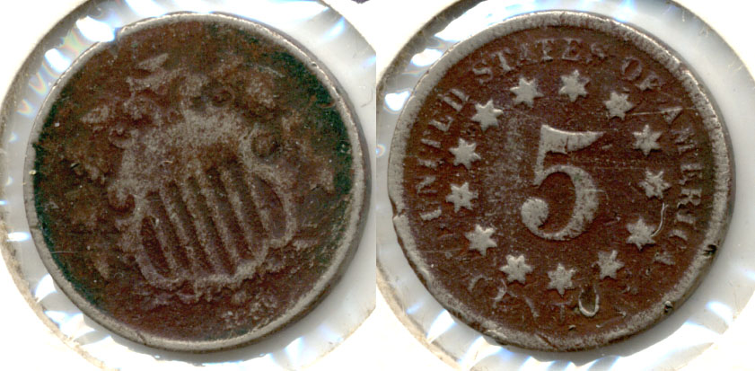 1869 Shield Nickel Good-4 c Dark