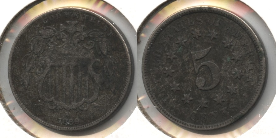 1869 Shield Nickel VF-20 Dark