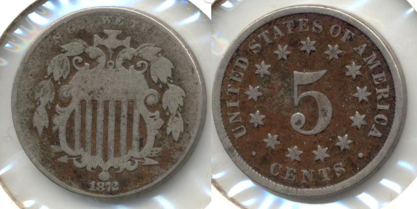 1872 Shield Nickel Good-4 Dark Fields