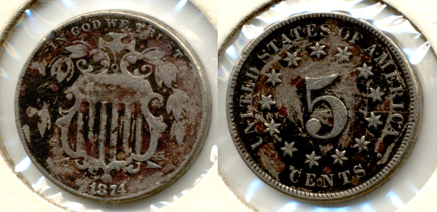 1874 Shield Nickel Fine-12 Scratches
