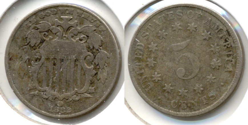 1882 Shield Nickel Fine-12 a Porous