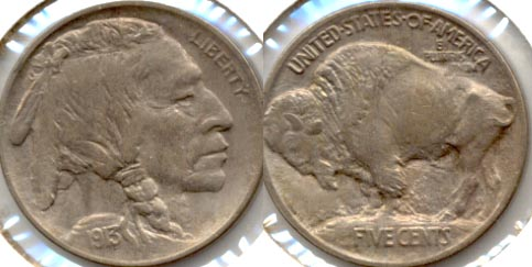 1913 Type 1 Buffalo Nickel AU-55 f