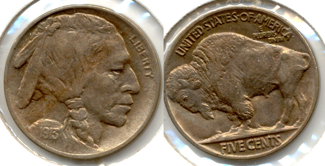 1913 Type 2 Buffalo Nickel AU-50 a