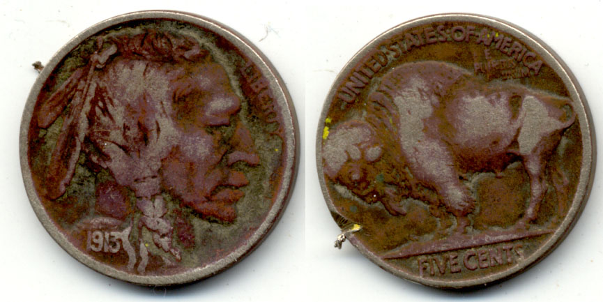 1913 Type 2 Buffalo Nickel VG-8 b Dark