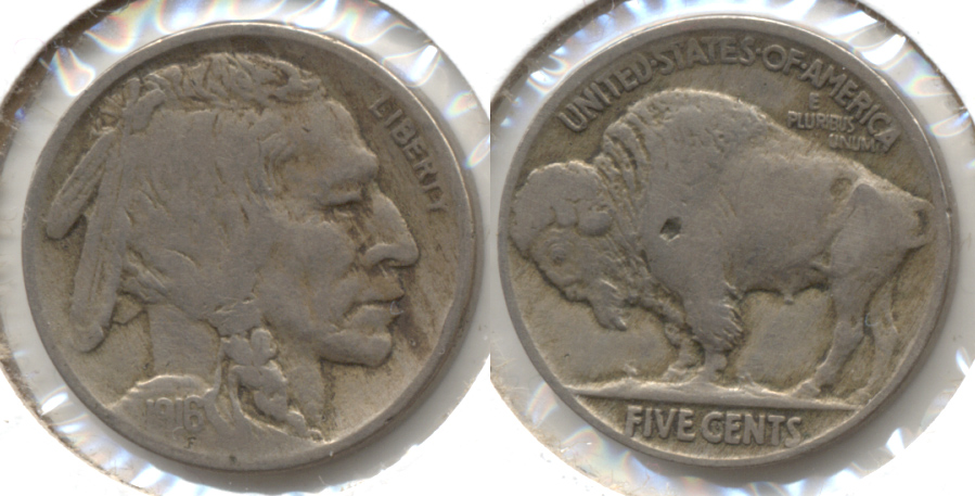 1916 Buffalo Nickel Fine-12 t Reverse Pit