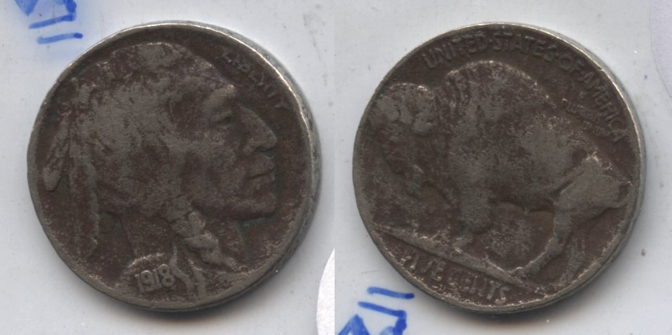 1918-D Buffalo Nickel Fine-12 #e Dark