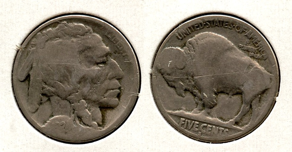 1924-S Buffalo Nickel Good-4 #d Reverse Scratch