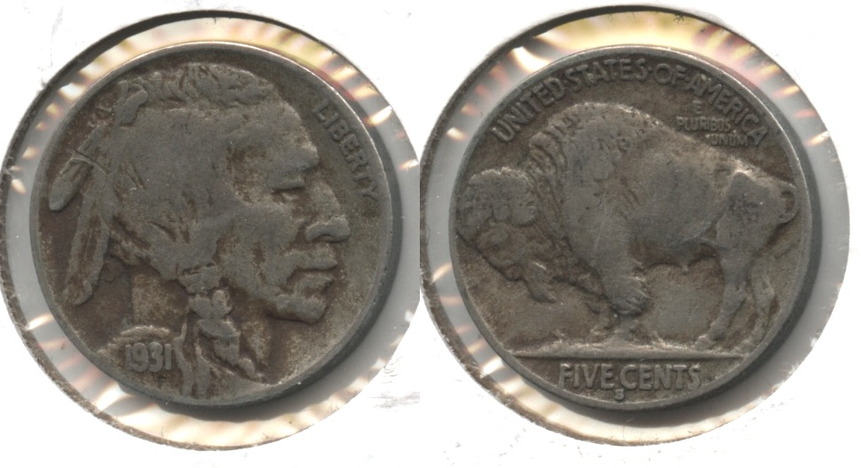 1931-S Buffalo Nickel Fine-12 #k Bit Dark