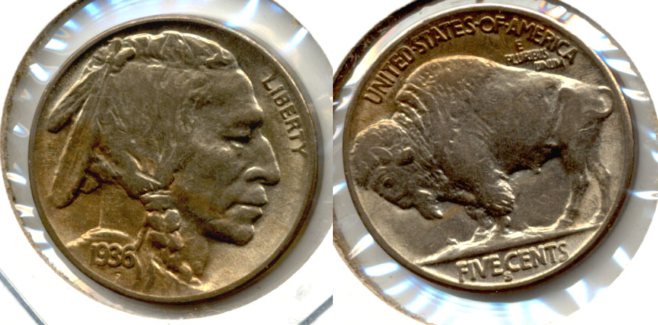 1936-S Buffalo Nickel AU-50 a