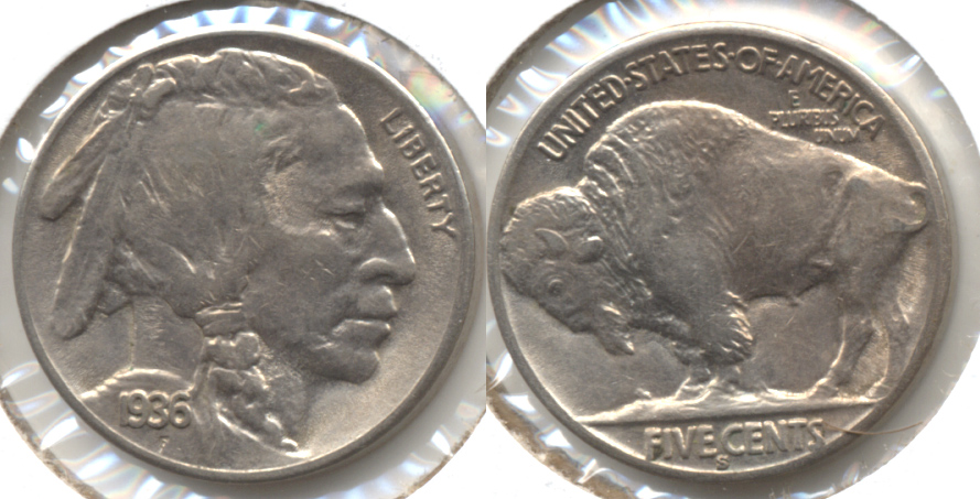 1936-S Buffalo Nickel AU-50 e