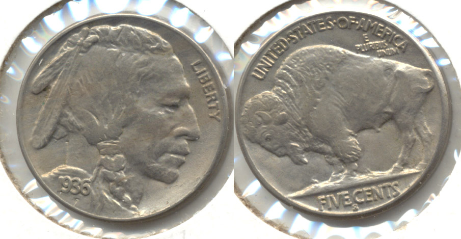 1936-S Buffalo Nickel AU-55