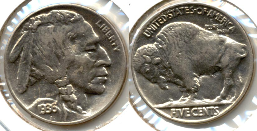 1936 Buffalo Nickel AU-55 b