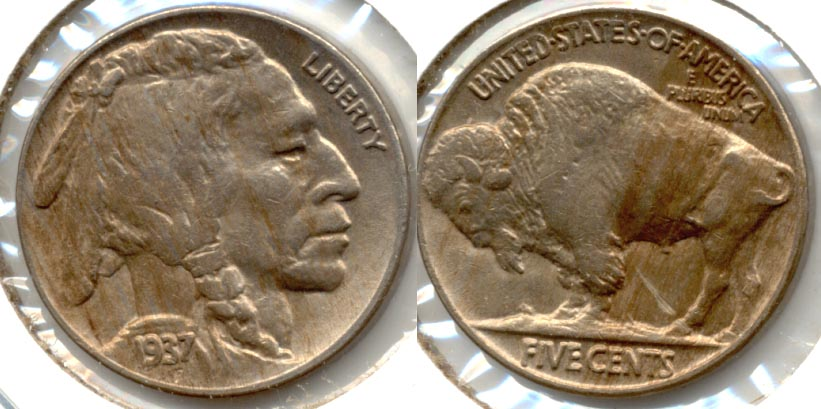 1937 Buffalo Nickel AU-53 b Reverse Scratch