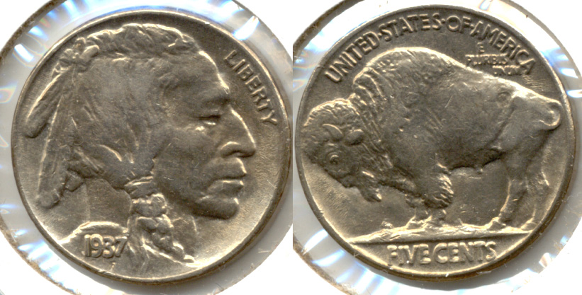 1937 Buffalo Nickel AU-55 o