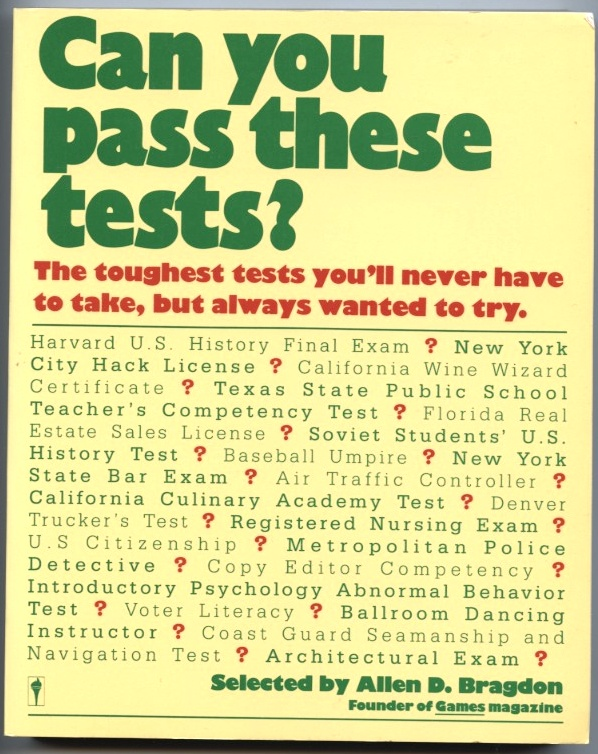 Can You Pass These Tests by Allen D Bragdon Published 1987