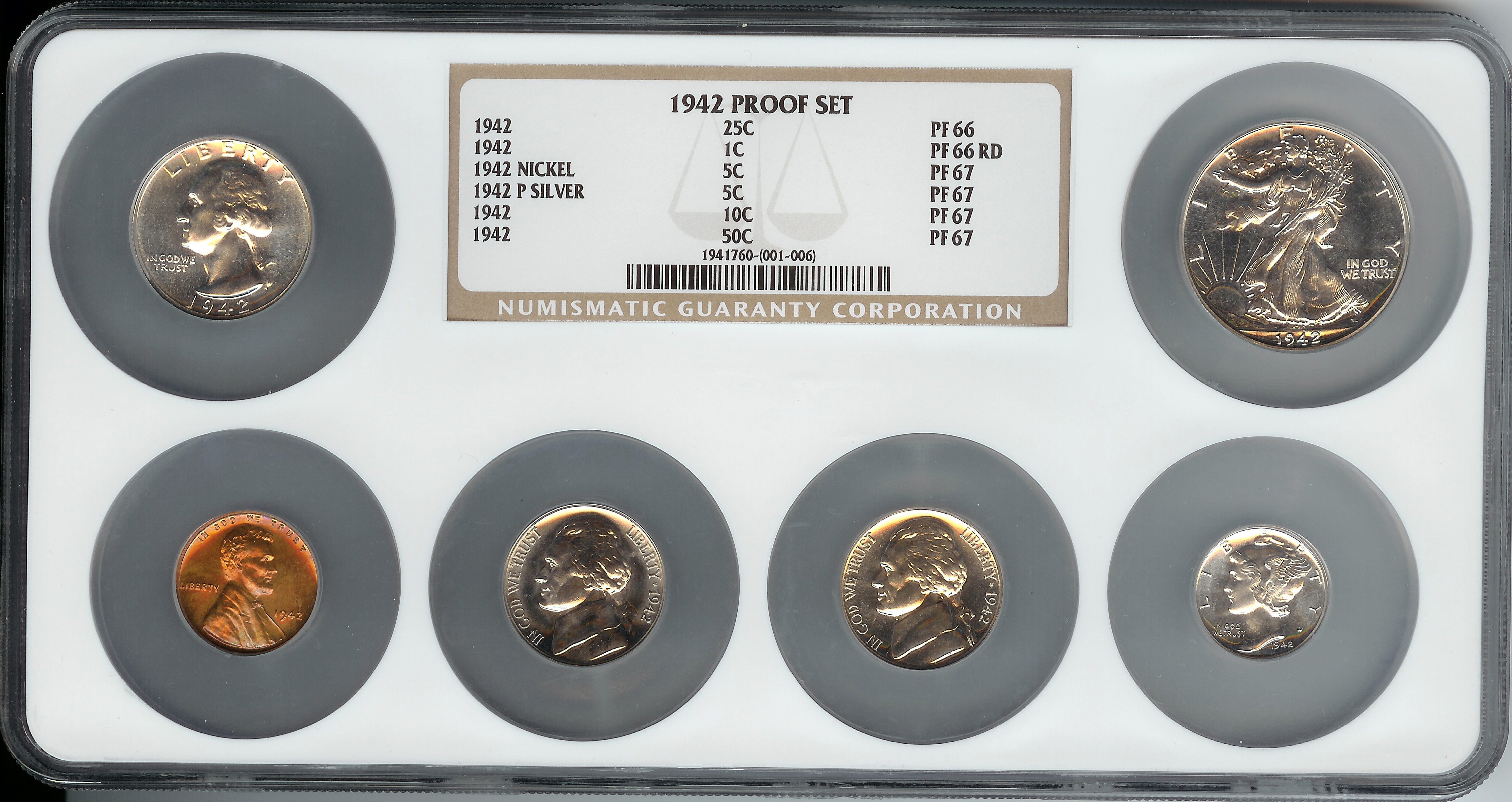 1942 Six Piece United States Proof Set Obverse