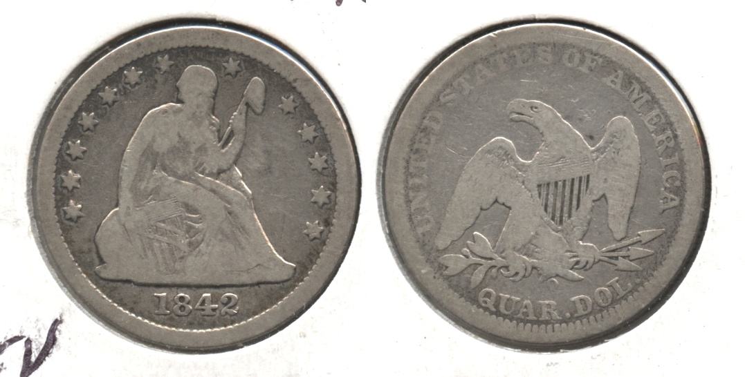 1842-O Seated Liberty Quarter Good-6
